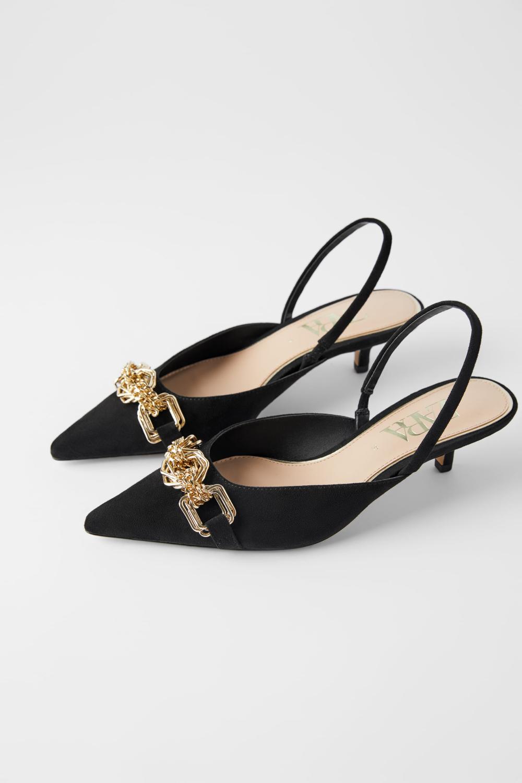 Slingback Kitten Heel Shoes With Metal Detail Kitten Heel Shoes Black Slingback Heels Kitten Heels