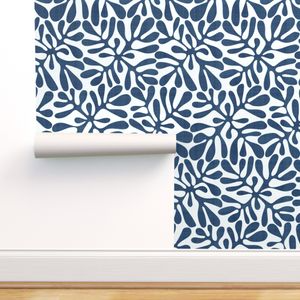 Colorful Fabrics Digitally Printed By Spoonflower Navy And White Block Print With Linen Block Printing Fabric Block Print Spoonflower Wallpaper
