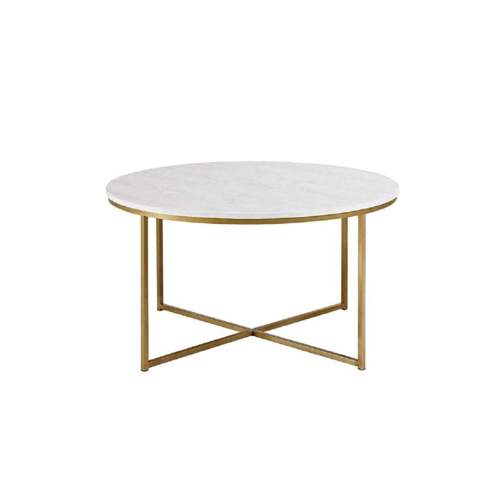 36 In Faux Marble Gold Coffee Table With X Base Home Depot Round Gold Coffee Table Gold Coffee Table Round Coffee Table [ png ]