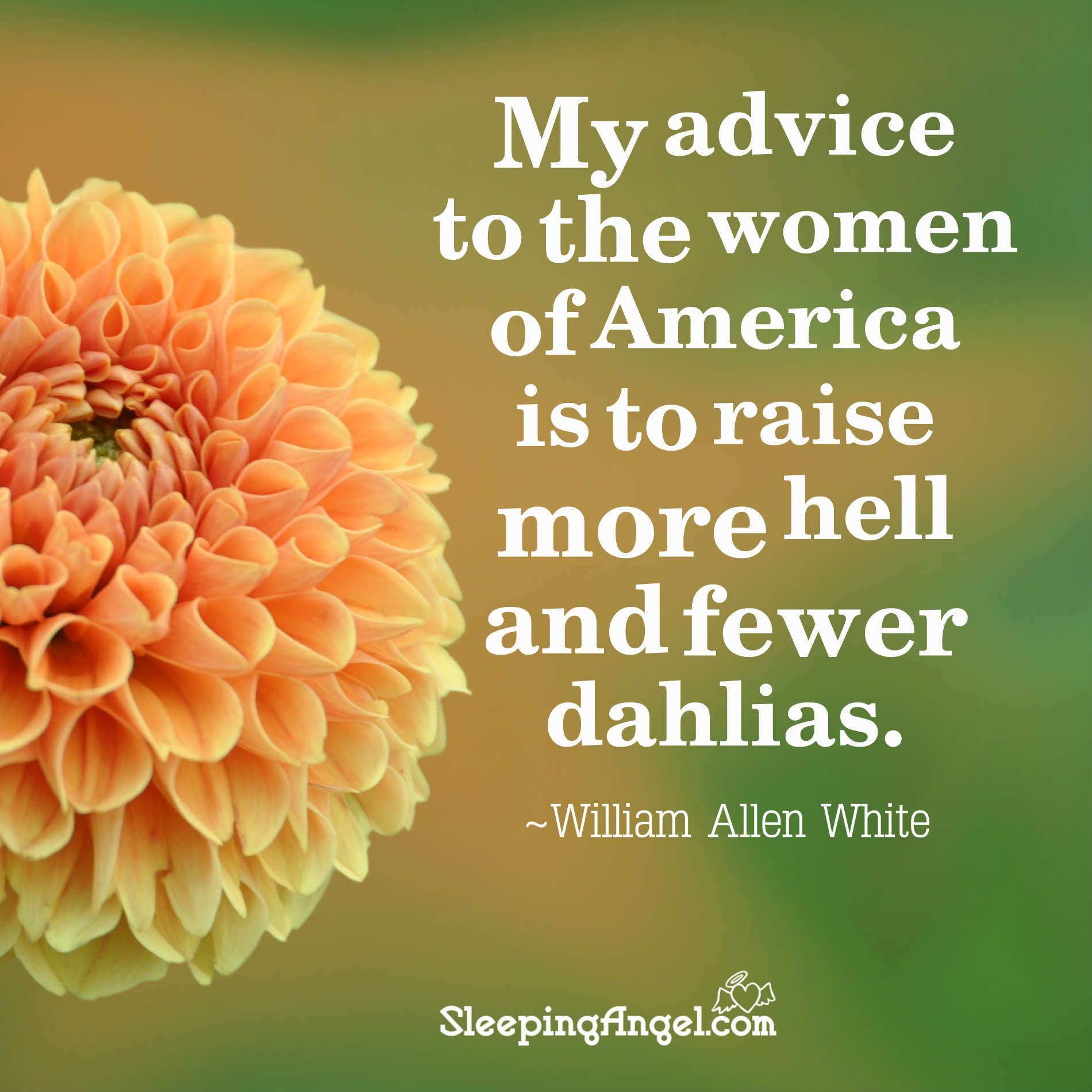 My advice to the women of america is to raise more hell and fewer my advice to the women of america is to raise more hell and fewer dahlias william allen white httpblogeepingangelp2019 izmirmasajfo