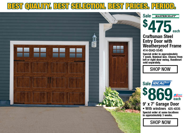 Craftsman Steel Entry Door With Weatherproof Frame On Sale For 475 Each Ideal Door Brand 9 Foot By 7 Foot Garage D Entry Doors Steel Entry Doors Garage Doors