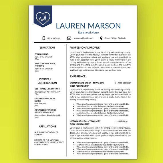 Nursing Resume Template, Nurse Resume Template, Medical Resume
