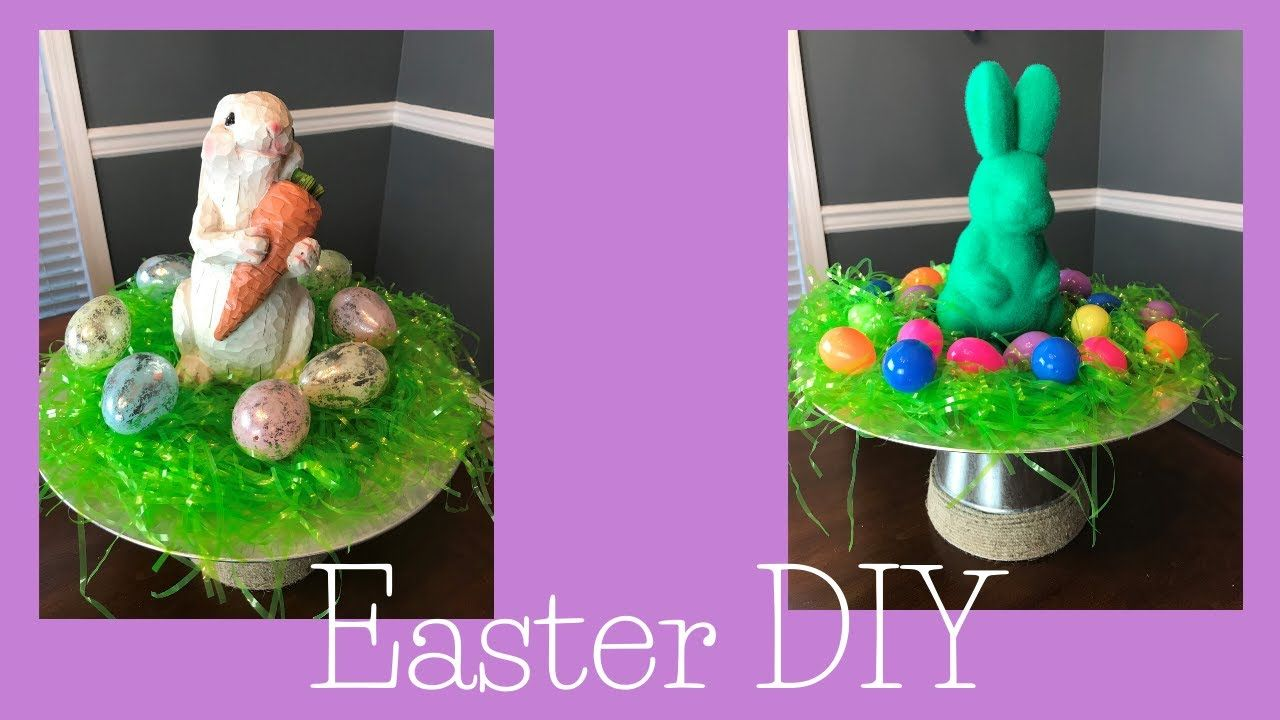 Dollar tree cake stand easter centerpiece decoration tray