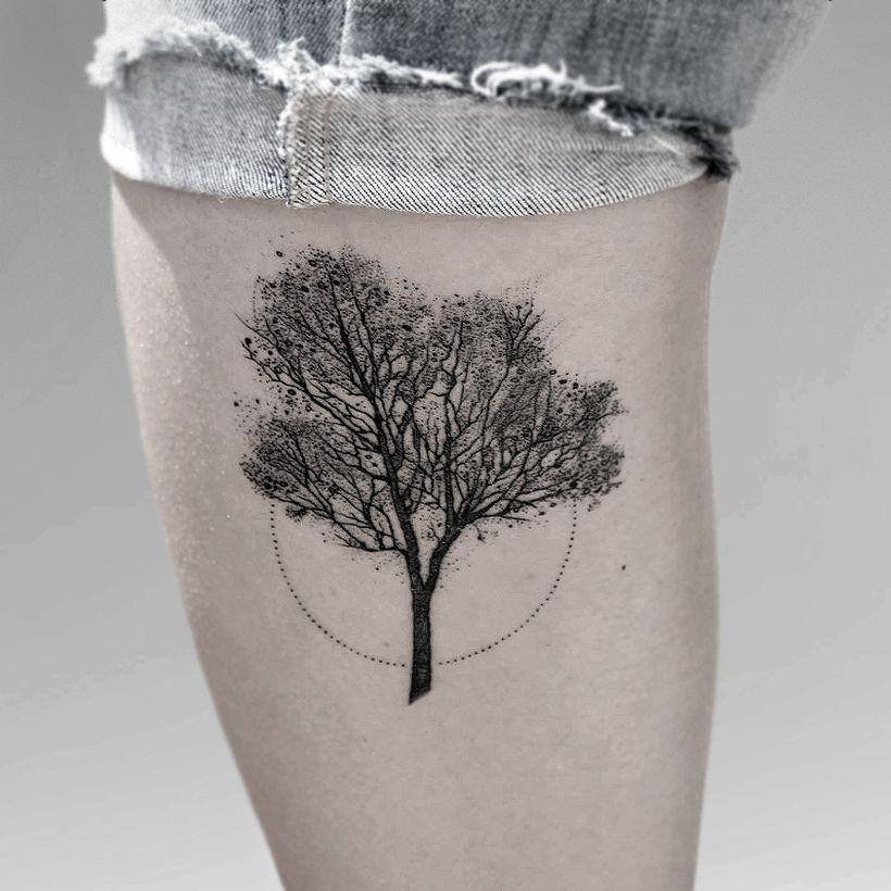 Small Jacaranda Tattoo: #tattoo #tree #jacarandá #dotwork #circle #dots #black