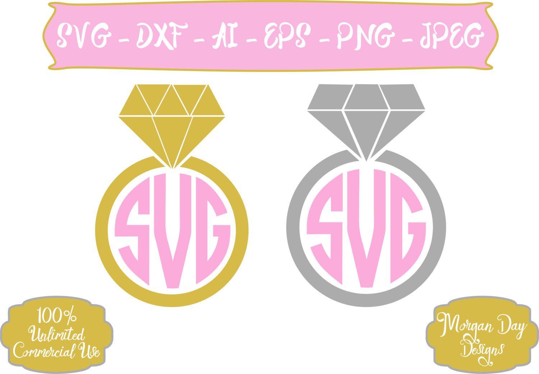Diamond Ring SVG - Diamond Ring Monogram SVG - Wedding SVG - Bride ...