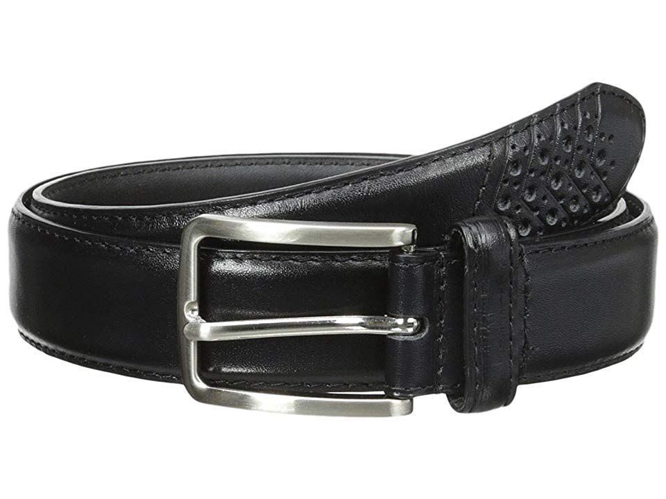 Stacy Adams 32mm Full Grain Leather Top w All Leather Lining Cross Stitch Perforated Tip Black Mens Belts Elevate your look with this handsome Stacy Adams belt Constructe...