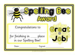 Spelling Bee Award Certificates Sb  Sparklebox  Class