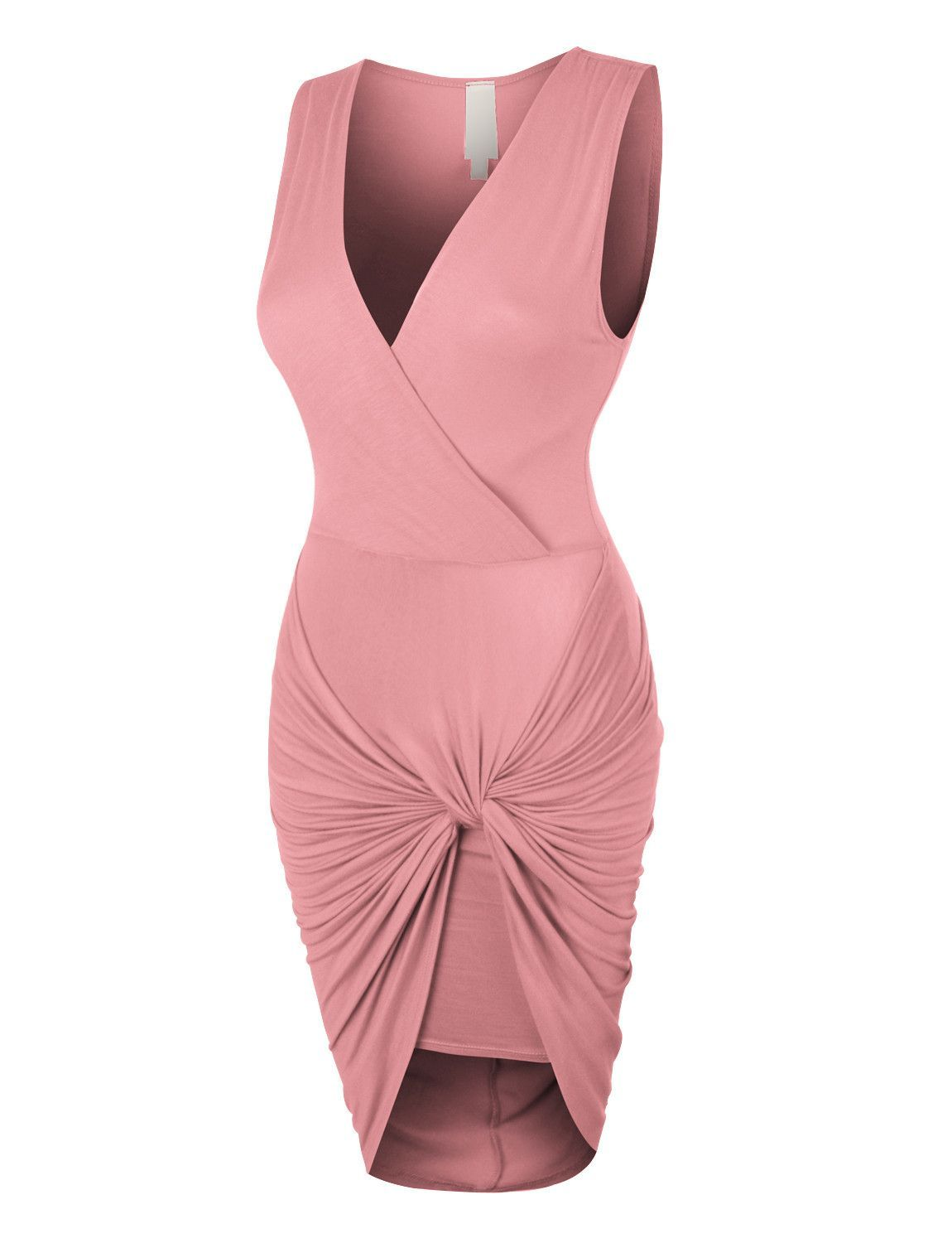 Womens Lightweight Side Draped Bodycon Dress with Stretch (CLEARANCE ...