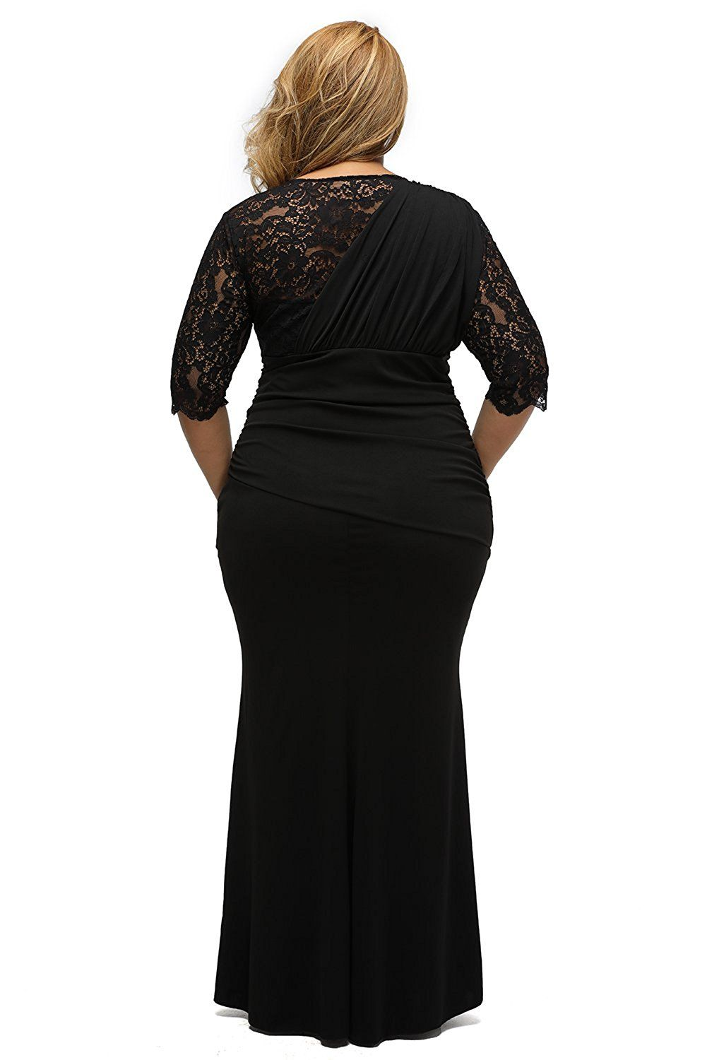 Lalagen womenus plus size lace half sleeve long wedding evening maxi