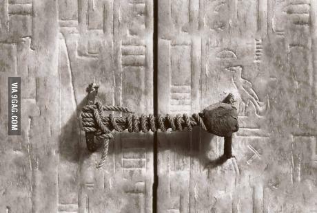 The unbroken seal on Tutankhamun's tomb, 1922. 3245 years untouched.