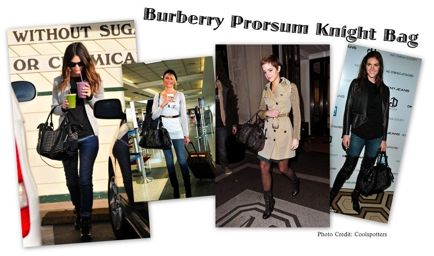 """Burberry Prorsum Knight Bag:  The Burberry Prorsum Knight Bag seems to be the """"IT"""" bag at the moment where our favorite dressed celebrities are making this their stable bag. The beautiful Rachel Bilson and ultra chic Emma Watson seem to not leave the house without this studded beauty on their arm. Cameron Diaz, Hilary Rhoda, Agnyess Deen and Nicky Hilton also have been seen carrying this baby around.This Burberry bag features a fully lined black leather with a double zip to open, handles to…"""