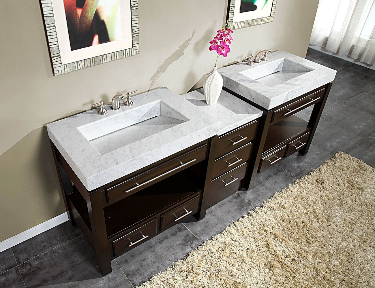 This Accord Contemporary 92  Moduler Bathroom Vanity Espresso Finish with  White Carrara Marble Top and. This Accord Contemporary 92  Moduler Bathroom Vanity Espresso