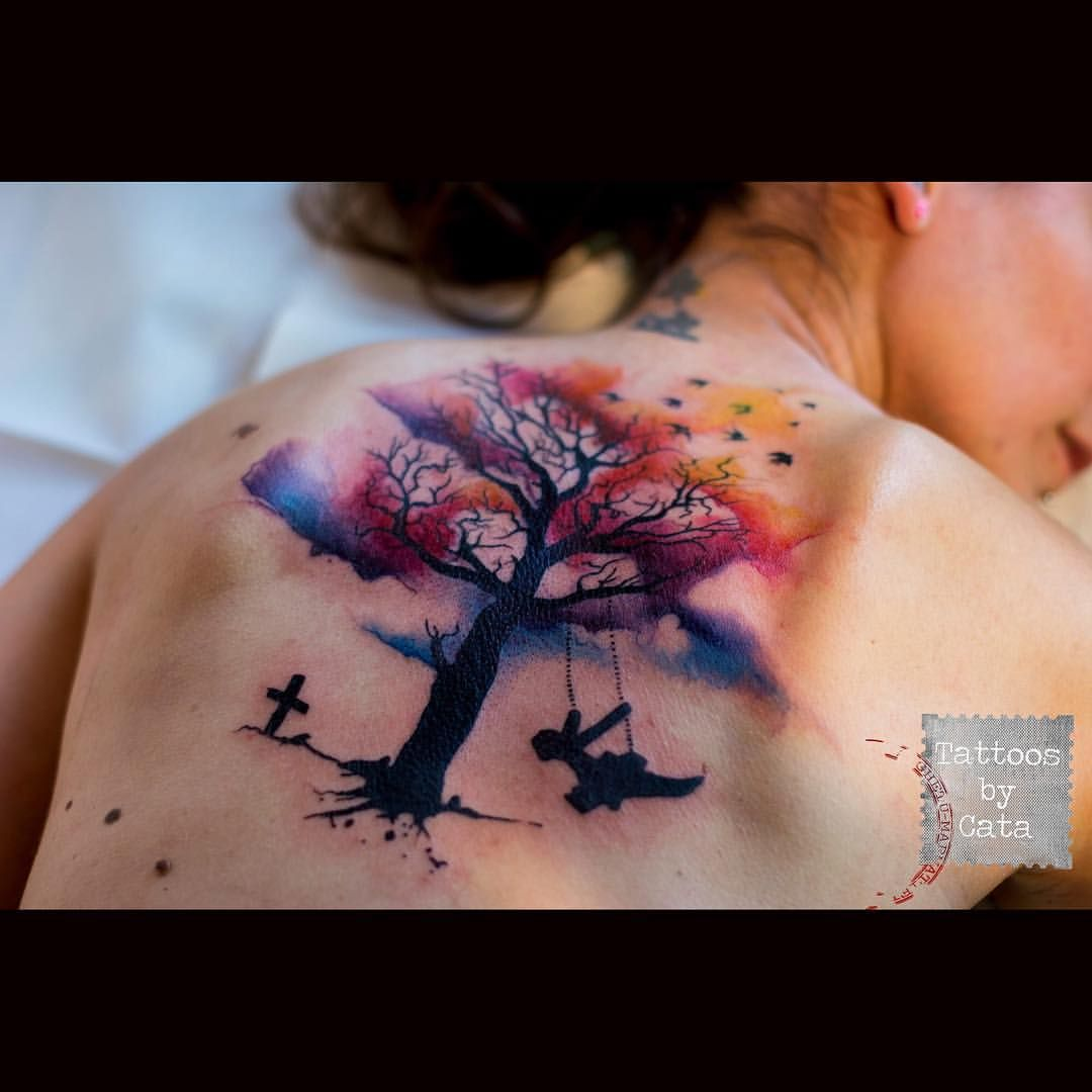 Watercolor Tree Tattoo I Love The Watercolor Accents Of