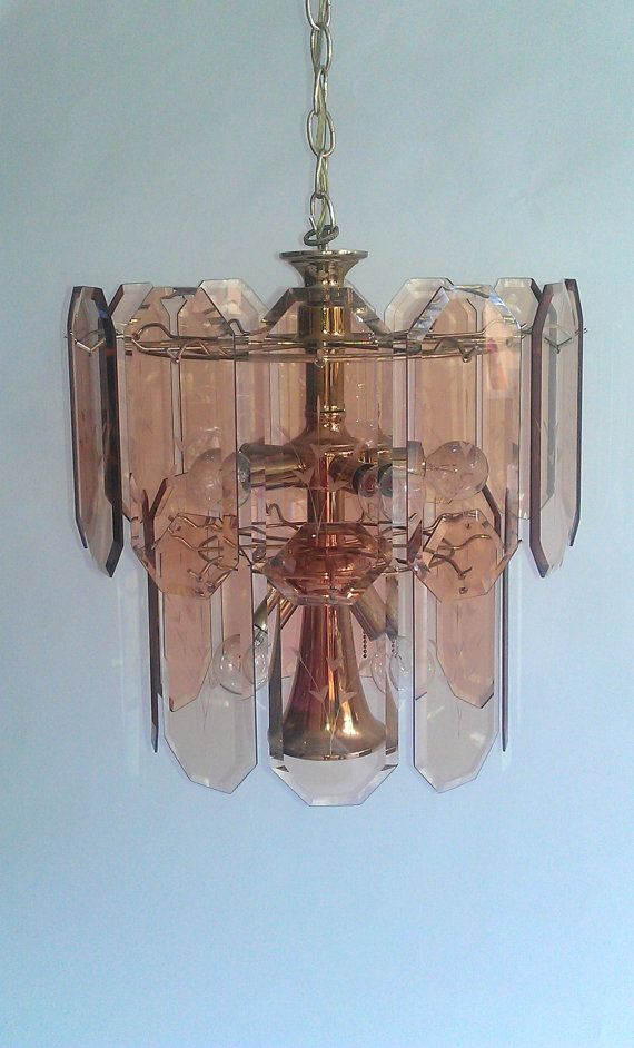 Vintage Etched Glass Pendant And Brass Tiered By Timandkimshow