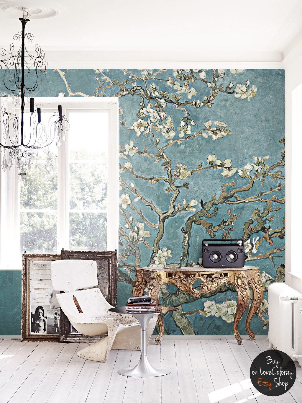 Cherry Blossom Wallpaper Chinoiserie Wall Mural Removable Etsy Cherry Blossom Wallpaper Home Decor Removable Wallpaper