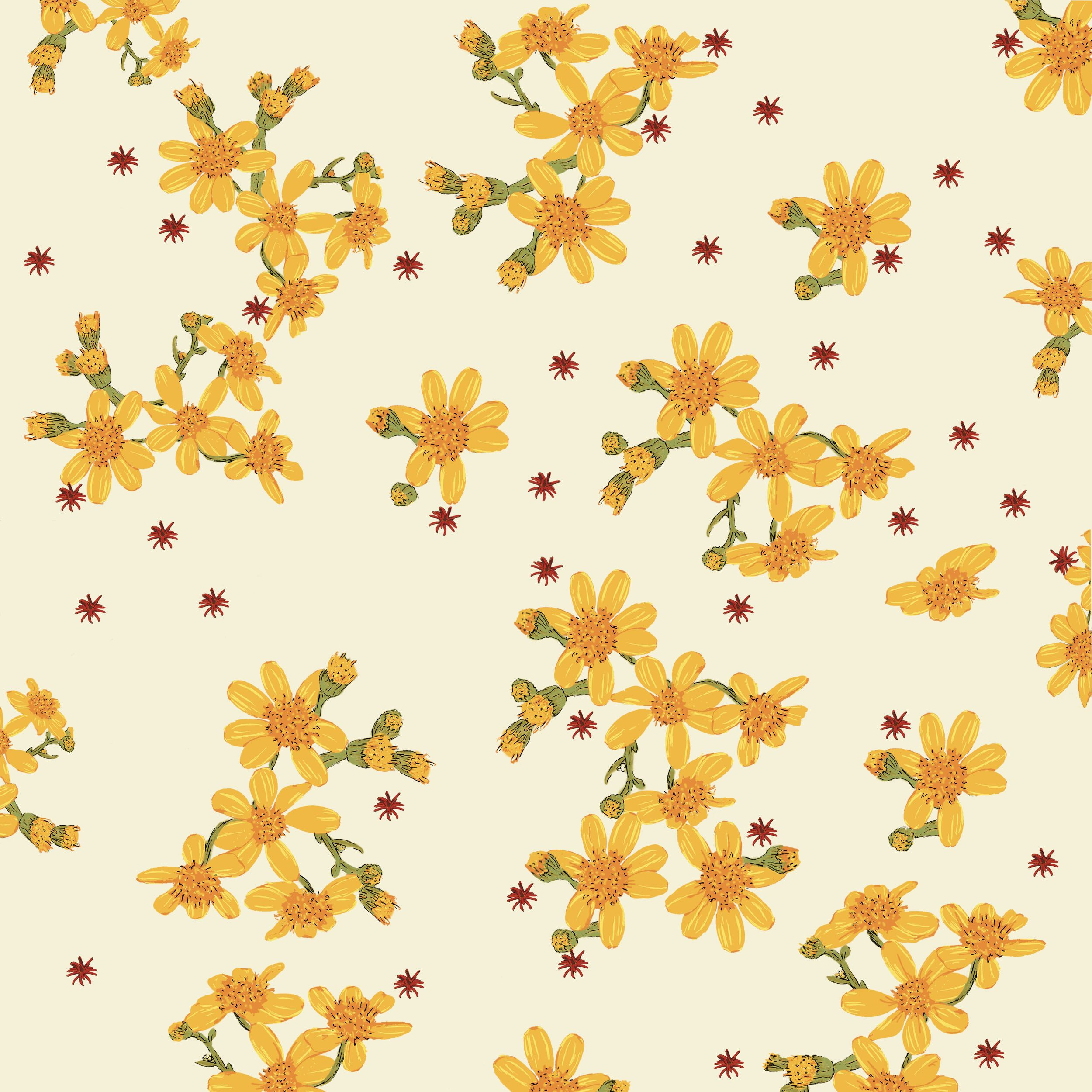 Yellow Flowers Scattered On A Light Yellow Bac Flower Drawings