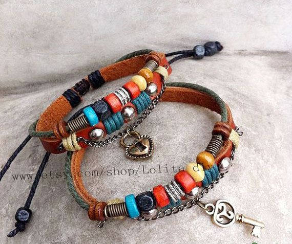 Tribal cowhide couple bracelet  His and Hers by Lolitadiy on Etsy, $19.99