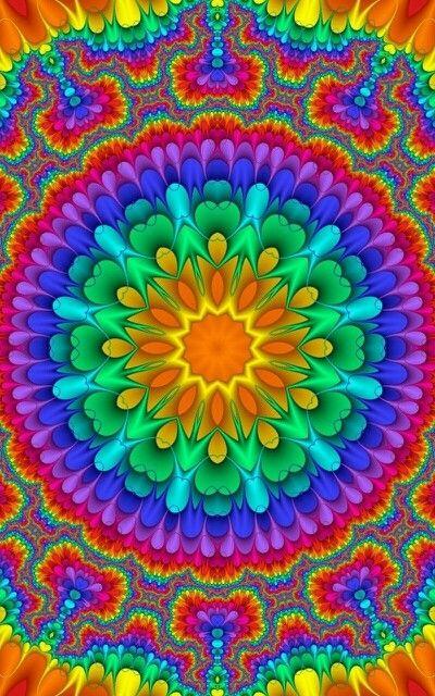 Kaleidoscope Mandala Optical Art By Sequin World Peace Sign Art Hippie Art Colorful Art