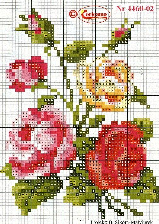 Rosa, vermelha, amarela, ponto cruz