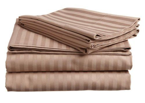 """600 Thread Count Egyptian Cotton Stripe Taupe Twin XXL Bed Skirt by Scala. $38.99. 1 Bed Skirt. Set Includes: 1 Twin Size Bed Skirt 39"""" X 75"""" with 15"""" drop, Tailored style, split corners, Material: 100% Egyptian cotton,Sateen finish Bed Skirt, Single-ply, Care instructions: Machine washable."""