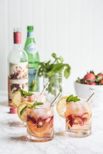fresh fruit and herbs beverage drink Summery Rosé Spritzer Cocktail