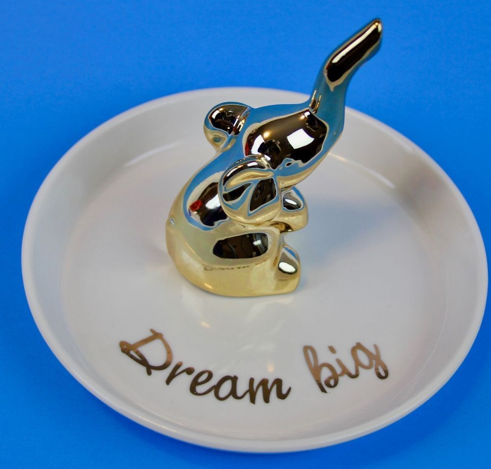 Ring Holder Ceramic Jewelry LaCasa Bella Dream Big Gold Elephant
