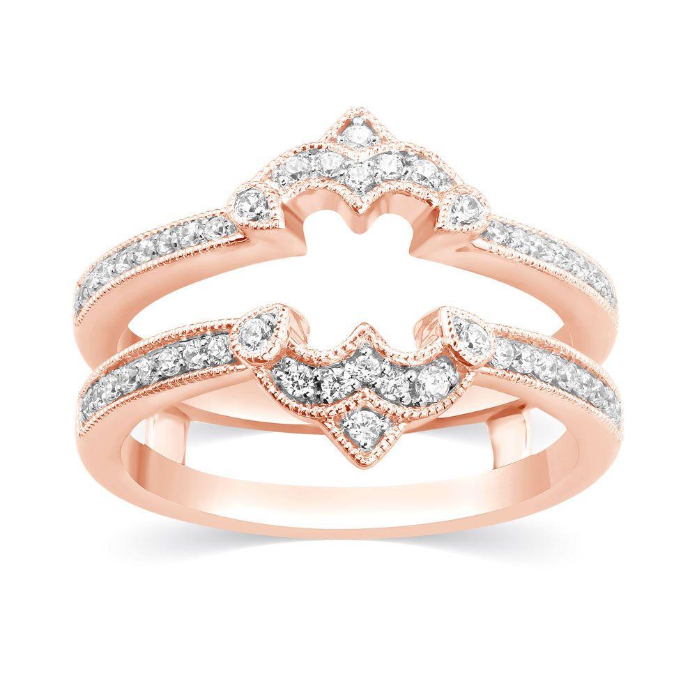 Solitaire Enhancer 1/3 Ct Diamond Ring Guard 14k Rose Gold