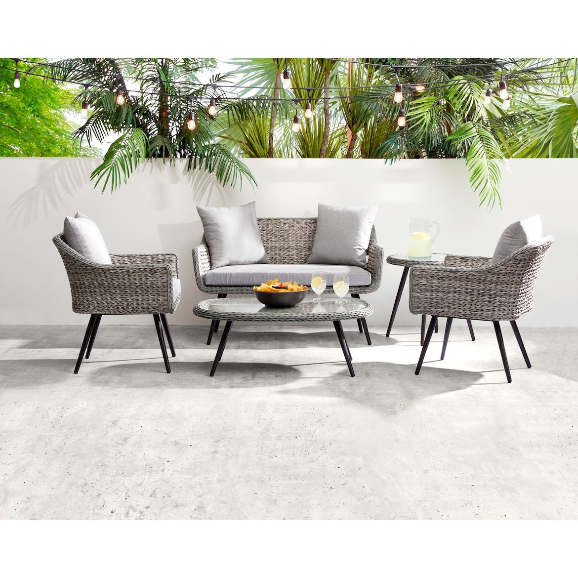 Palm Outdoor Loveseat Gray American Signature Furniture In 2020 Stylish Outdoor Furniture Furniture Outdoor Loveseat