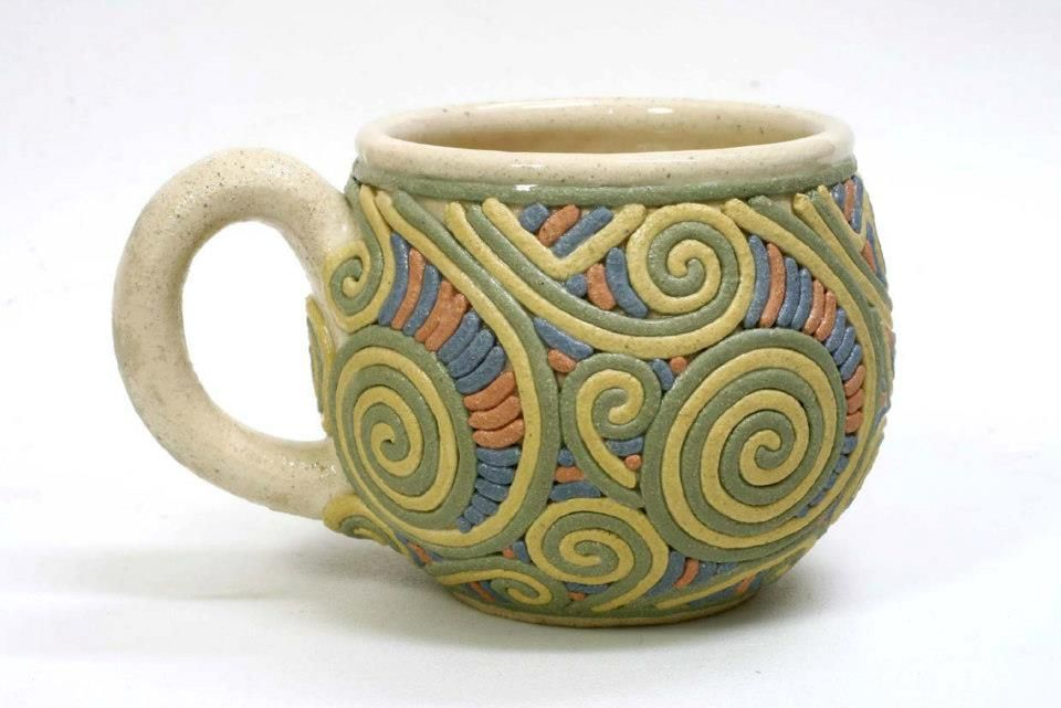 Inlaid colored clay coils | Cups / mugs | Pinterest | Clay ...