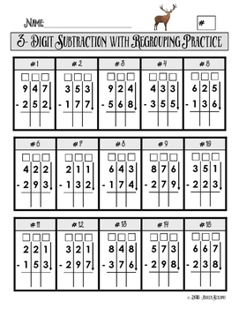 3 digit subtraction with regrouping practice worksheet math math subtraction subtraction. Black Bedroom Furniture Sets. Home Design Ideas