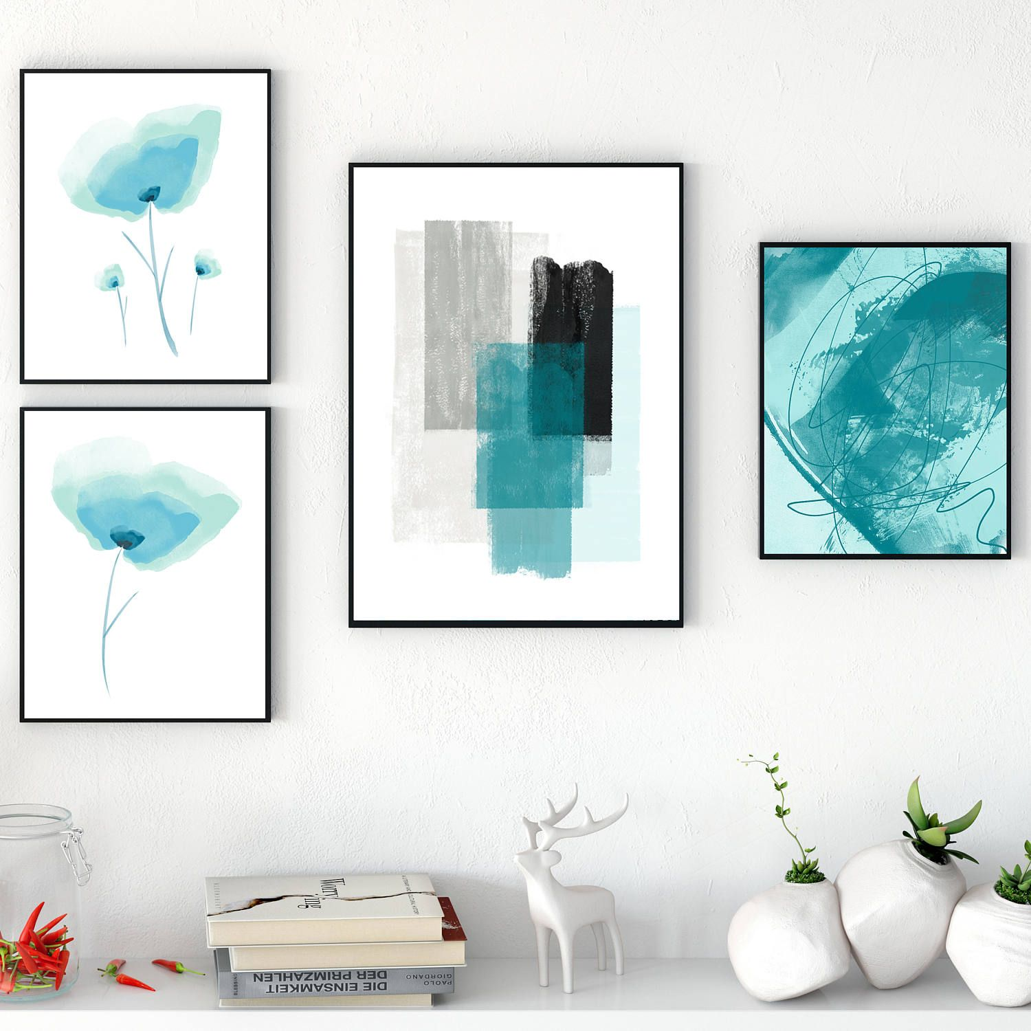 Blue Minimalist Gallery Wall Art Blue Wall Art Contemporary Blue Paintings Printable Instant Download Gal Gallery Wall Art Gallery Wall Picture Gallery Wall