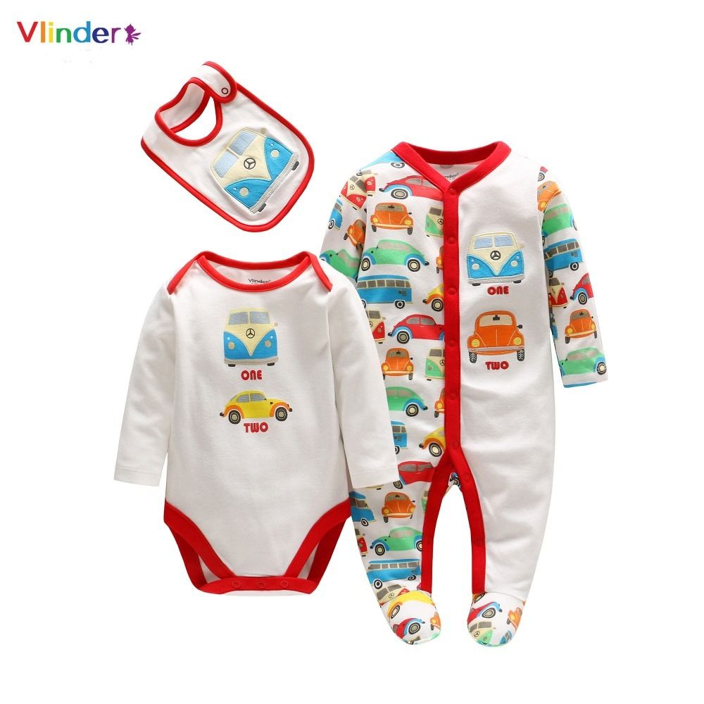 5aa3d711d Click to Buy << Vlinder 2017 New 3pcs Cotton Infant Set Casual Newborn Baby Spring  Autumn Clothes Long Sleeves Print Car Rompers Bodysuit Bibs #Affiliate. >>