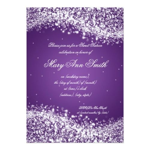 Sweet Sixteen Birthday Party Sparkling Wave Purple Card – Purple Party Invitations