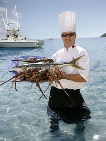 Chef Christophe Blatz Shows Off The Catch Of The Day At Curtain