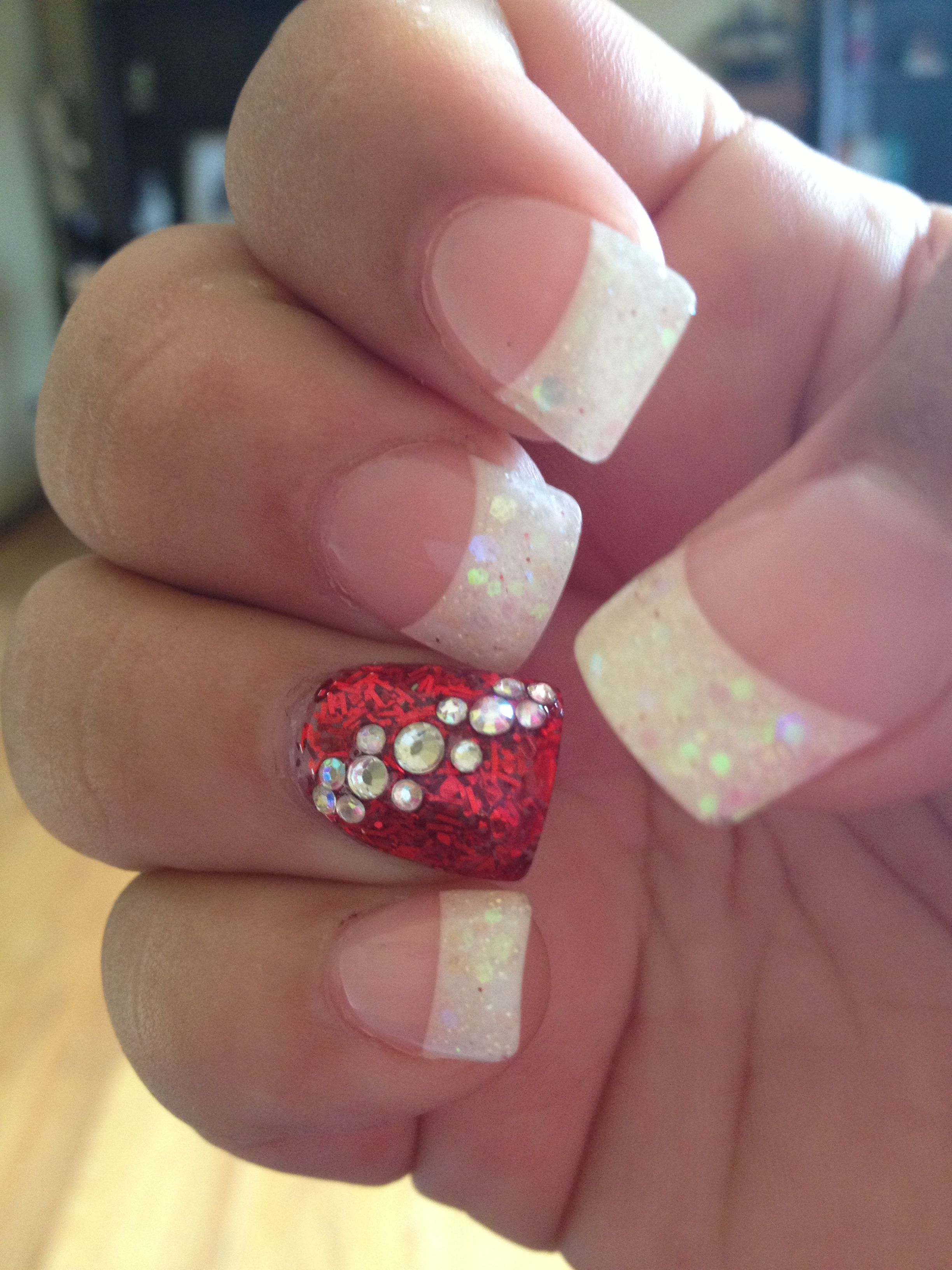 Glitter French Tip And Glitter Red With Rhinestones Nail Art