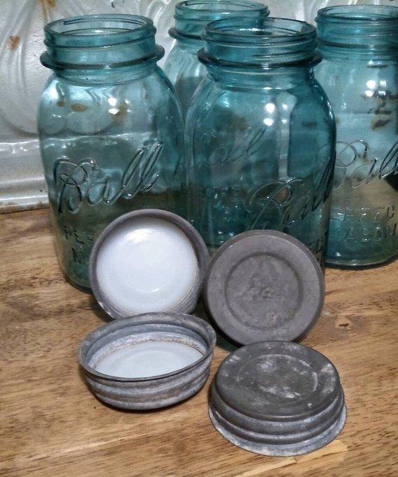 Vintage Blue Perfect Mason Jars with Zinc Lid, 1920-1930's