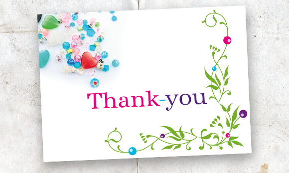 Beautiful Thank You Cards bead me beautiful thank-you card. | blast factory graphic design
