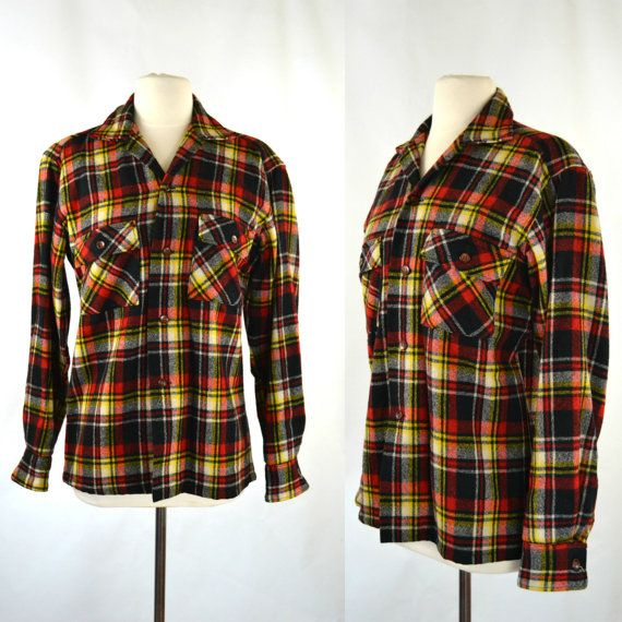 1950s Mens Black Yellow Red And White Wool Plaid Shirt By Rugby Knitting Mills Black Plaid Shirt Plaid Shirt Wool Plaid