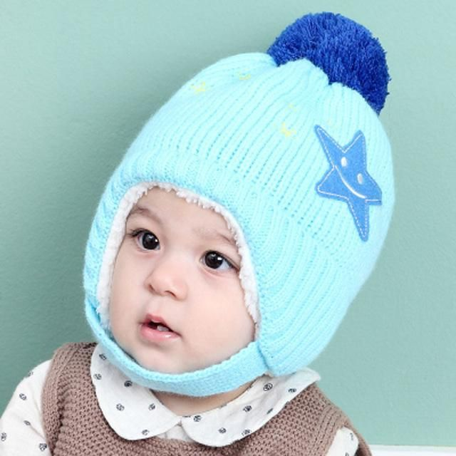 85919c6be8a Autumn and winter children with cashmere knitted hat child hair ball cap  ear muffs Baby Star warm wool hat for 8month-3years