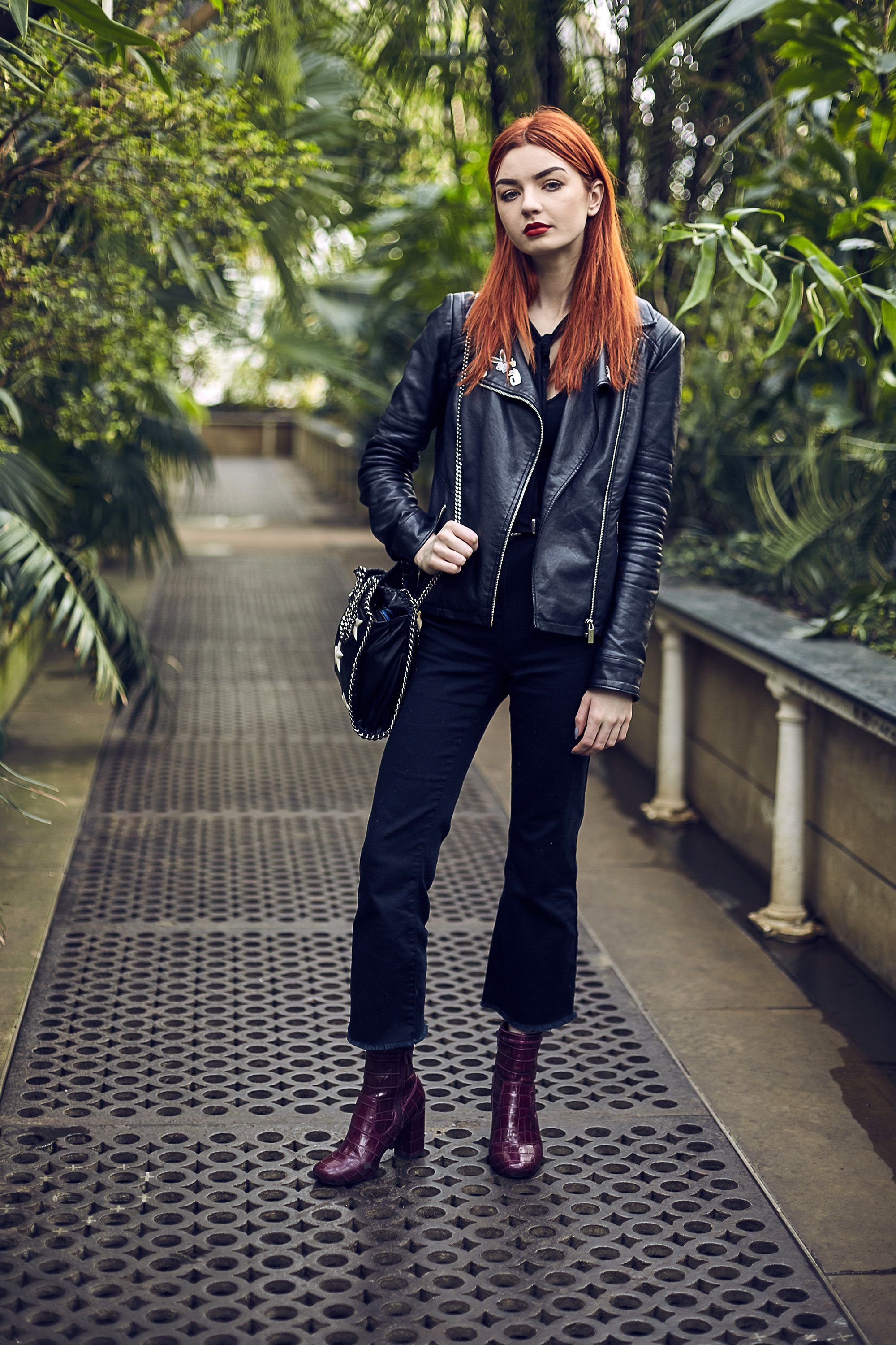 crop kick flare jeans | ankle boots | moto jacket | Things to Wear ...