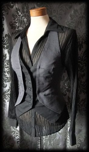 Black Grey Pinstripe Womans Waistcoat