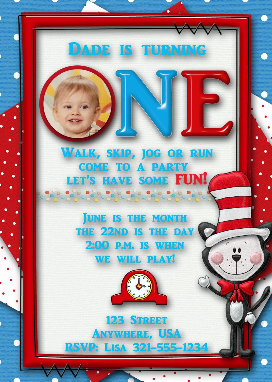 Dr. Seuss Birthday Party Invitation - Custom - First Birthday. $15.00, via Etsy.