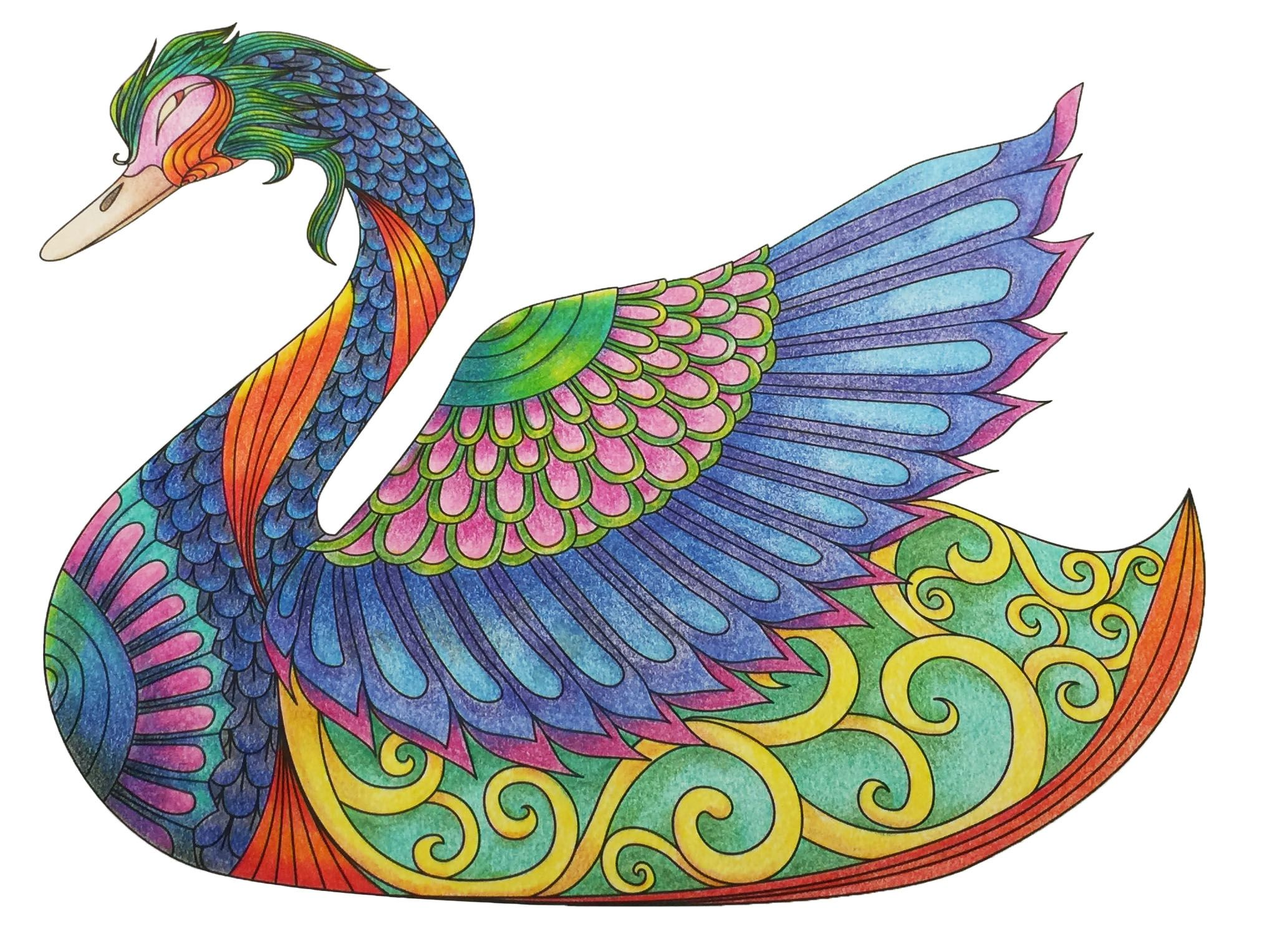 Color art living wonders - Swan From Leisure Arts 6807 Art Of Coloring Animals Colored Pencils Used