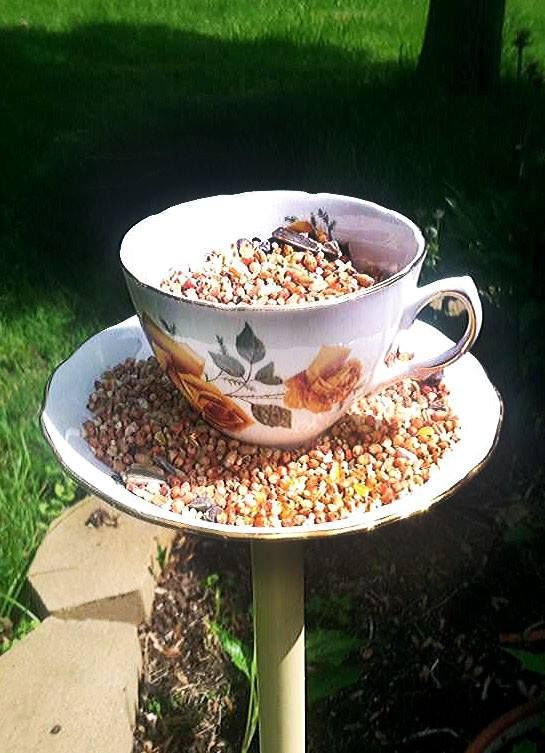 Teacup Bird Feeder Summer 2013 www.purplechairity.org