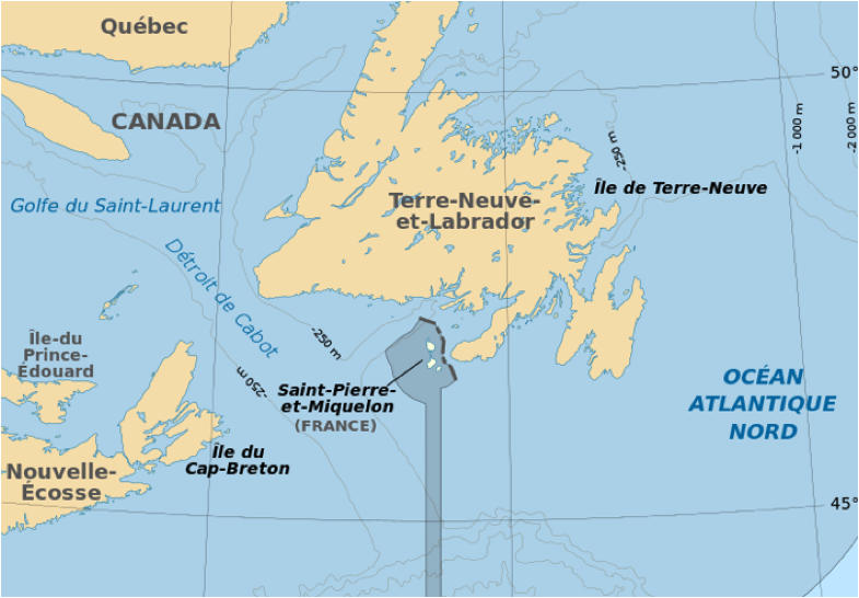 SaintPierreetMiquelon when France ceded North America at the end