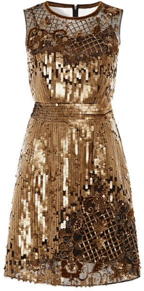 Alberta Ferretti Gold Embellished Tulle Dress