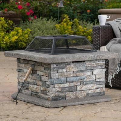 Noble House Crestline 29 00 In X 17 10 In Square Natural Stone Fire Pit 2691 In 2020 Wood Burning Fire Pit Fire Pit Designs Fire Pit Table