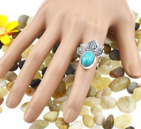 Tribal Silver Plated Rose Shape Ring with Turquoise Inserts