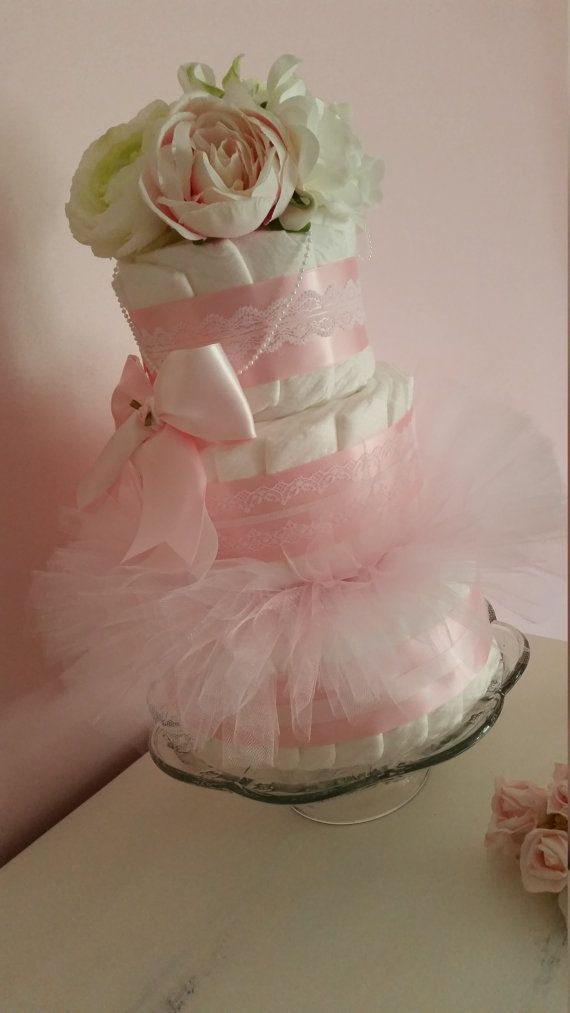 Girl Diaper Cake Shower Centerpiece Decorations by ItsUpInTheAttic
