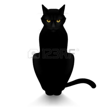 Yeux de panth re chat noir isol sur un fond blanc animaux dessins pinterest - Chat noir dessin ...